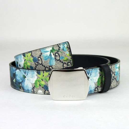 Gucci Blue Bloom Print Belt w/Silver Buckle 100/40 424674 8499 Image 1