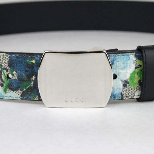 Gucci Blue Bloom Print Belt w/Silver Buckle 100/40 424674 8499 Image 2
