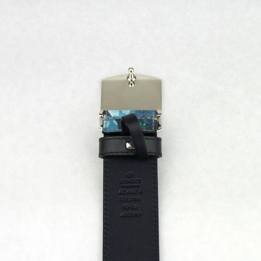 Gucci Blue Bloom Print Belt w/Silver Buckle 100/40 424674 8499 Image 5