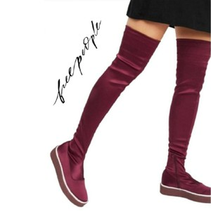 Free People Red Platform Thigh High Boots