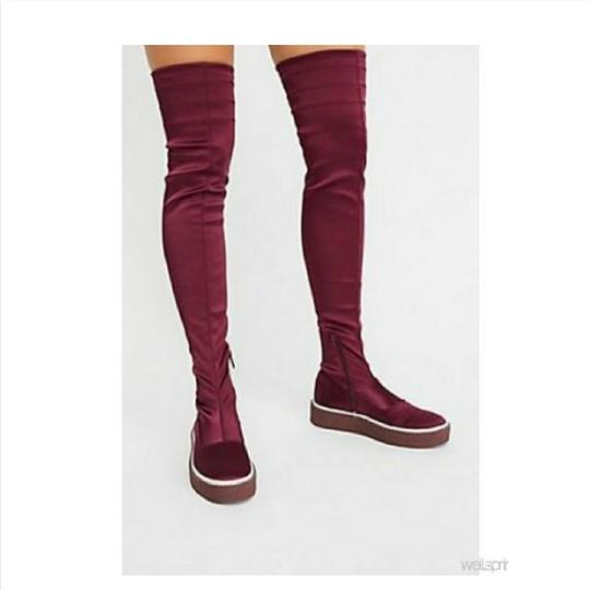 Free People Red Platform Thigh High Boots Image 1