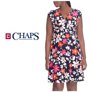 Chaps Pink White Red V-neck Cap Sleeve Dress