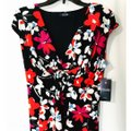 Chaps Pink White Red V-neck Cap Sleeve Dress Image 2