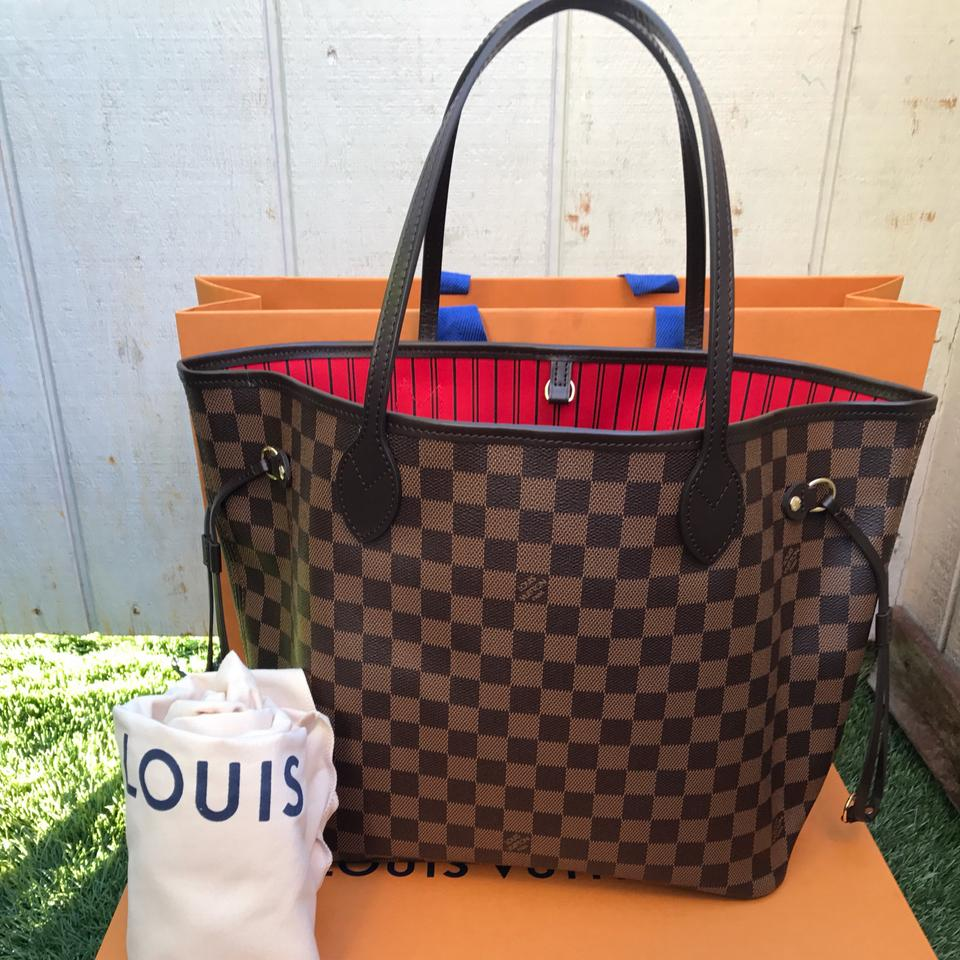 a4fae27558d9 Louis Vuitton Neverfull Mm Damier Ebene Red Canvas Tote - Tradesy