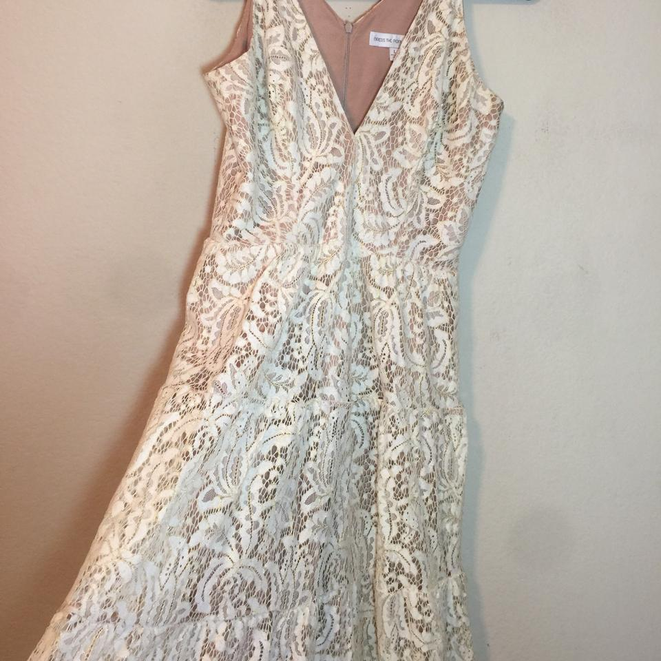 5ae06d7d97 Dress the Population Gold Cream Melina Lace Fit & Flare Maxi Long Formal  Dress Size 12 (L) - Tradesy