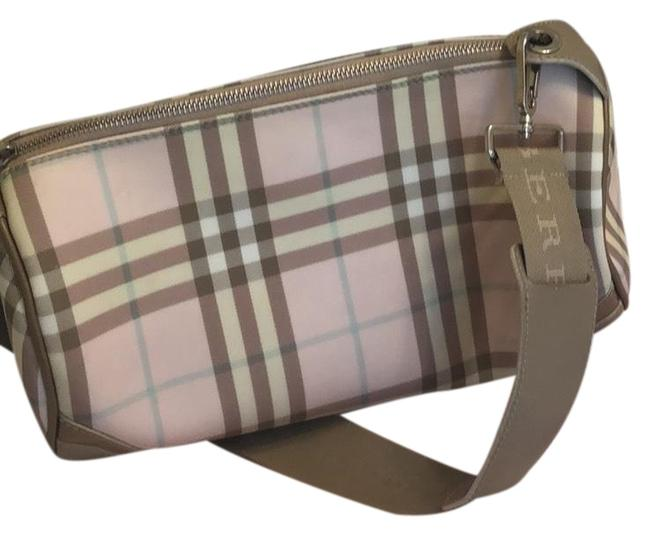Item - Pink Cream Tan and Light Blue Plaid Leather Shoulder Bag