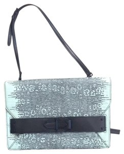 10 Crosby Derek Lam Mint Green / Black Lizard Print Clutch