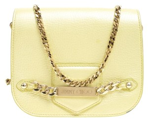 7385f08660c Jimmy Choo Leather Suede Chain Gold Hardware Gold Cross Body Bag