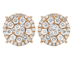 Jewelry Unlimited 14K Rose Gold Real Diamond Cluster Studs Earrings 2 CT 12MM