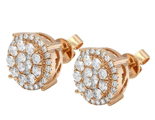 Jewelry Unlimited 14K Rose Gold Real Diamond Cluster Studs Earrings 2 CT 12MM Image 1