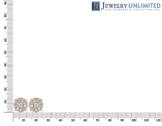 Jewelry Unlimited 14K Rose Gold Real Diamond Cluster Studs Earrings 2 CT 12MM Image 3
