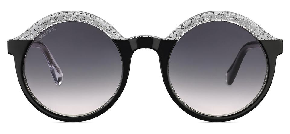 10c239279be1 Jimmy Choo Black and Silver Glam Round Acetate with Glitter ...