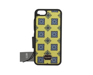 Dolce&Gabbana D209 Yellow Blue Pattern Leather Phone Cover (12.5 cm x 6 cm)