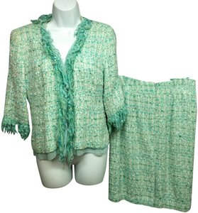 Albert Nipon ALBERT NIPON FRINGES AQUA WOVEN TWEED SKIRT SUIT 4