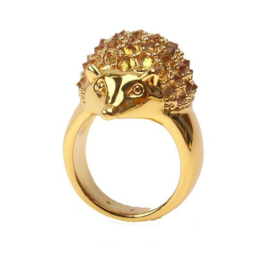 kate spade Brand New Kate Spade Into the Woods Hedgehog Cocktail Ring Size 7 Gold Image 3