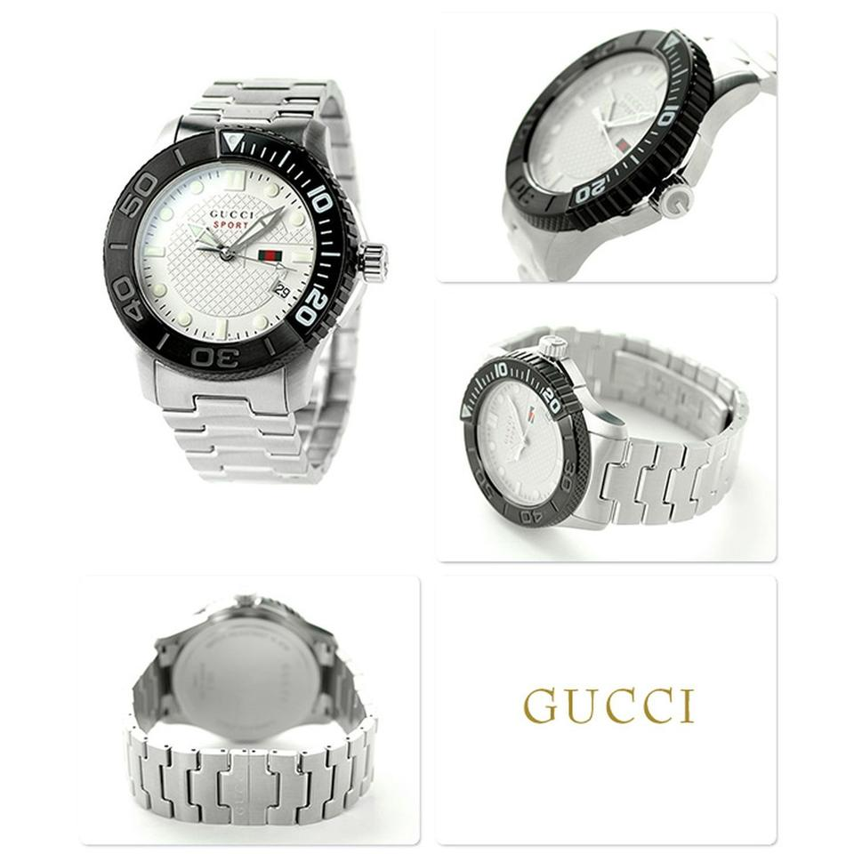 702730be8c6 Gucci White and Black G-sport 126 Xl Ya126250 Stainless Steel Beige Dial Quartz  Men s Watch
