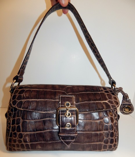 Dooney & Bourke Nile Croc Leather Flap Shoulder Bag Image 8