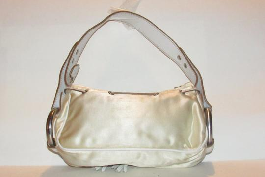 Hogan Champagne Leather/Chrome Petite Style Two Exterior Pockets From By Tod's Satchel in ivory satin and white leather with chrome accents Image 1