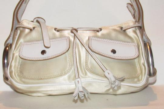 Hogan Champagne Leather/Chrome Petite Style Two Exterior Pockets From By Tod's Satchel in ivory satin and white leather with chrome accents Image 10