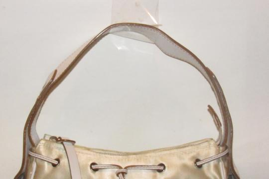 Hogan Champagne Leather/Chrome Petite Style Two Exterior Pockets From By Tod's Satchel in ivory satin and white leather with chrome accents Image 11