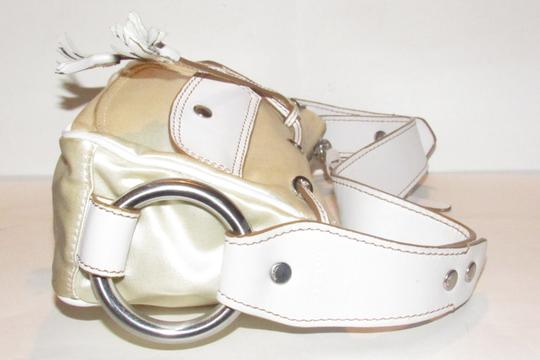 Hogan Champagne Leather/Chrome Petite Style Two Exterior Pockets From By Tod's Satchel in ivory satin and white leather with chrome accents Image 3