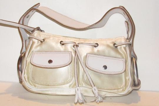Hogan Champagne Leather/Chrome Petite Style Two Exterior Pockets From By Tod's Satchel in ivory satin and white leather with chrome accents Image 4