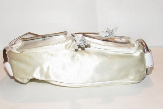 Hogan Champagne Leather/Chrome Petite Style Two Exterior Pockets From By Tod's Satchel in ivory satin and white leather with chrome accents Image 5