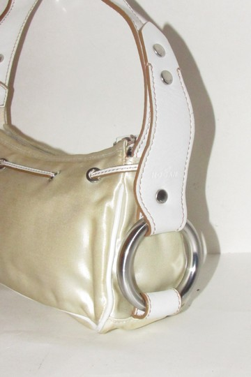 Hogan Champagne Leather/Chrome Petite Style Two Exterior Pockets From By Tod's Satchel in ivory satin and white leather with chrome accents Image 6