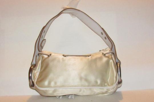 Hogan Champagne Leather/Chrome Petite Style Two Exterior Pockets From By Tod's Satchel in ivory satin and white leather with chrome accents Image 9