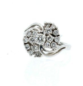 Other 14K WHITE GOLD 1.0ct DIAMOND CLUSTER LADIES RING SIZE 5.5