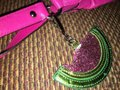 unknown Large Watermelon Glitter Sparkle Purse Charm Hang Tag for Handbag Image 2
