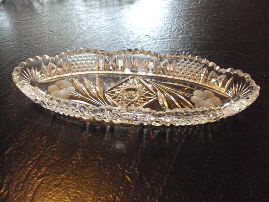 None Vintage Crystal Oblong Relish Bowl Serving Dish Image 1