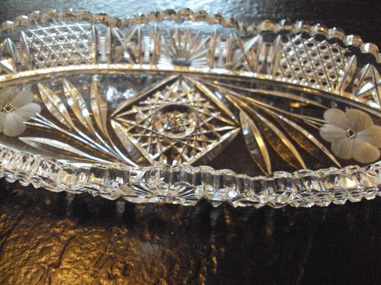 None Vintage Crystal Oblong Relish Bowl Serving Dish Image 2