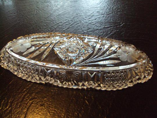 None Vintage Crystal Oblong Relish Bowl Serving Dish Image 3