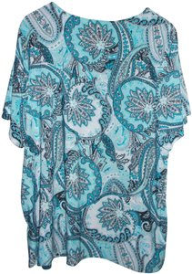 f2f4a020ccd9 JM Collection Comfortable Silky Stretch Loose Plus T Shirt Blue