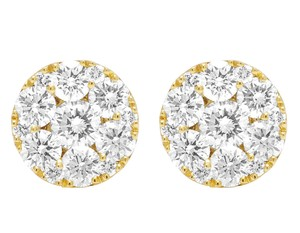 Jewelry Unlimited 10K Yellow Gold Real Diamond Flower Studs Earrings 2 CT 9MM