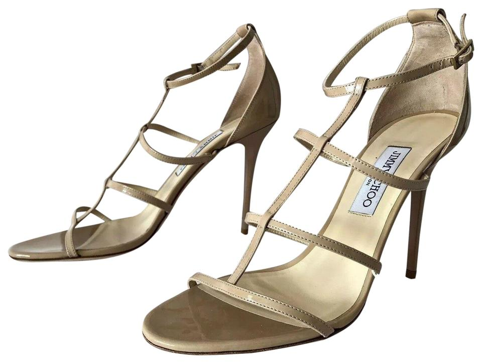 bb9fe0bff5 Jimmy Choo Nude Dory Patent Leather Cage Heel Sandals Pumps Size EU ...