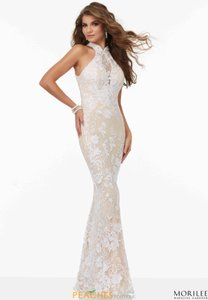 Mori Lee Nude/Ivory Lace with Sequins #99009 Sexy Wedding Dress Size 12 (L)