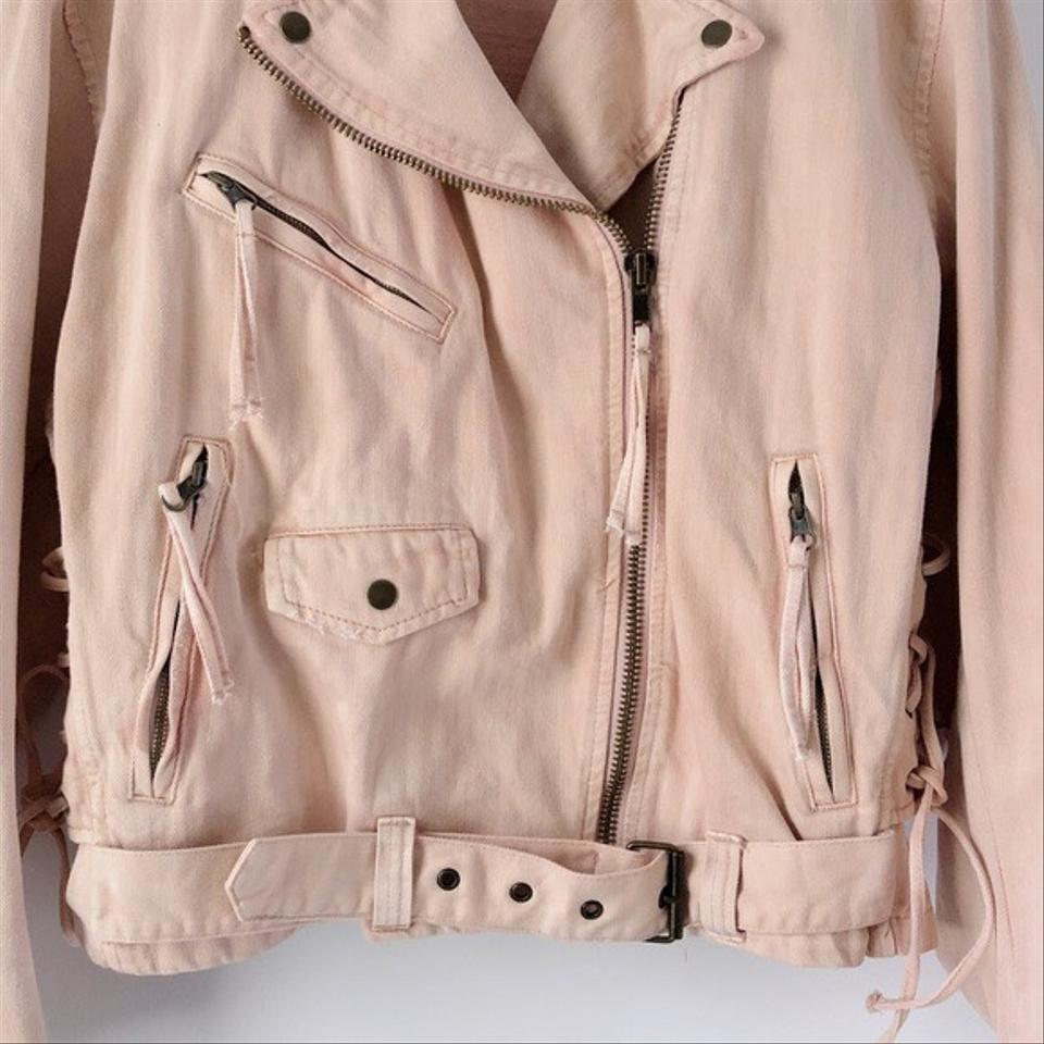 Free People Womens Lace-Up Moto Motorcycle Jacket rose M