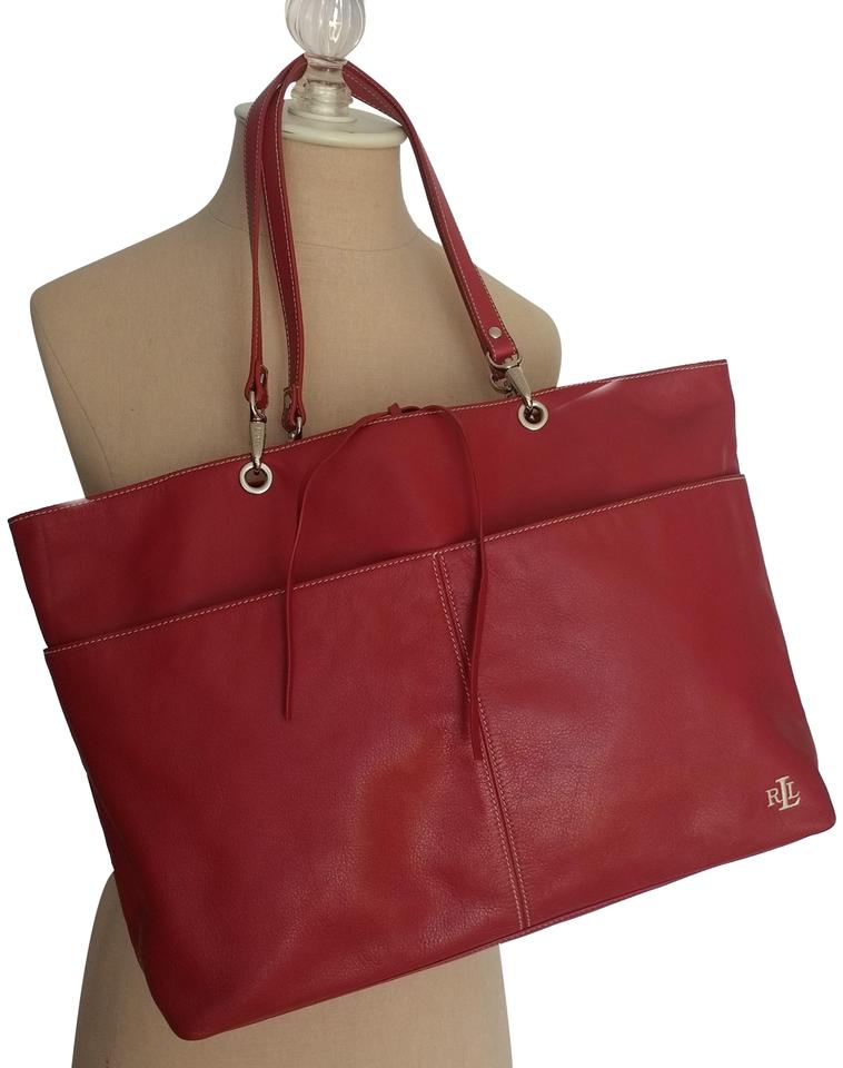 55e68df27e Ralph Lauren Designer Vegan Leather Monogram Red Tote Travel Bag Image 0 ...