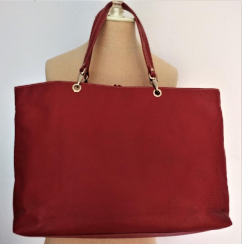 Ralph Lauren Designer Vegan Leather Monogram Red Tote Travel Bag.  12345678910 36290796f4e32