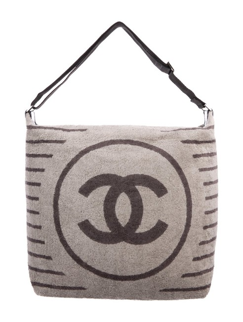 Item - Shopping Tote Resort Striped Logo Pool Limited Edition Grey Towel and Nylon Beach Bag