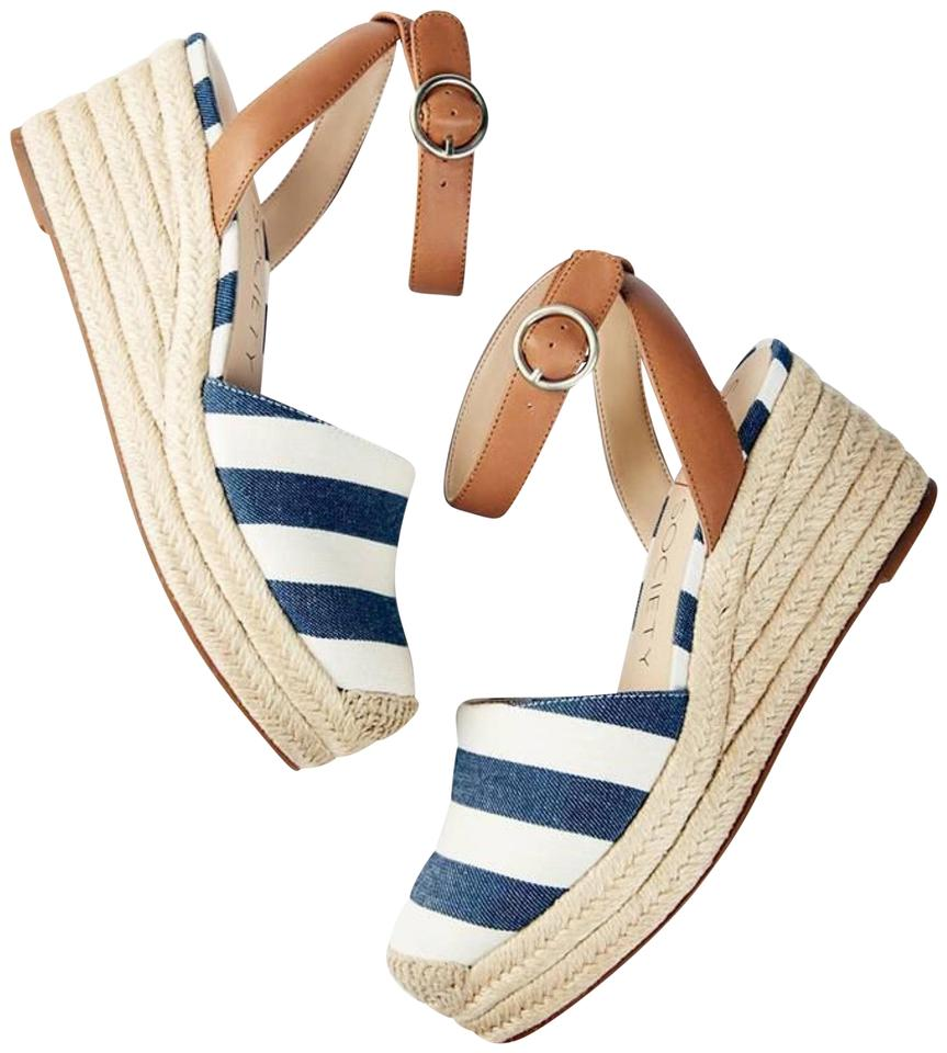 504f0e38229 Sole Society Blue White Channing Striped Espadrille Sandals Wedges ...