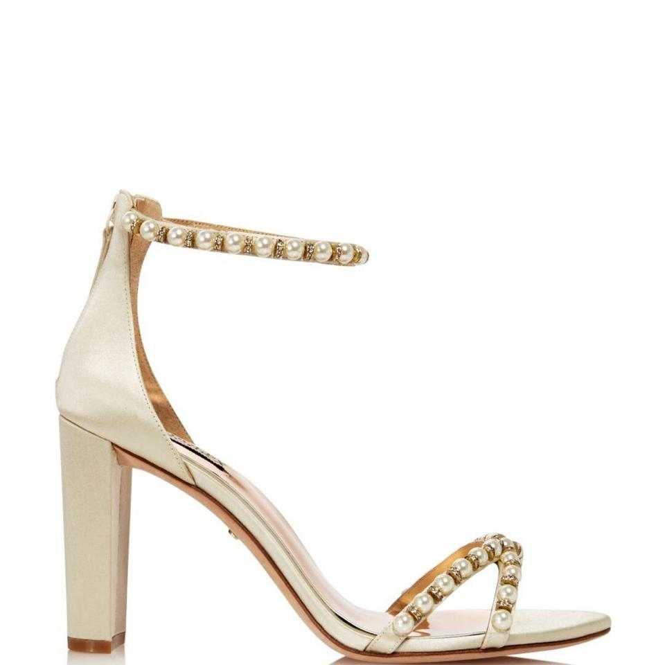 4aed12e7753 Badgley Mischka Ivory Hooper Satin Pearl Detail Block Heel Ankle Strap  Sandal Formal Shoes