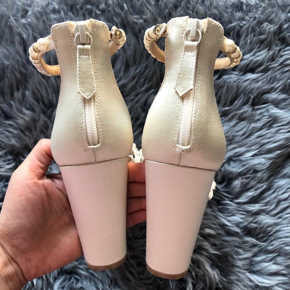 b17a0bdd61f3 Badgley Mischka Ivory Hooper Satin Pearl Detail Block Heel Ankle ...
