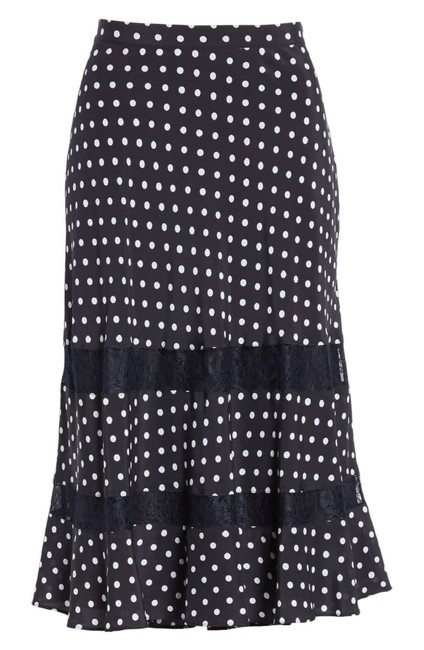 Lewit Polka Dot A Line Silk Lace Skirt Navy Image 0