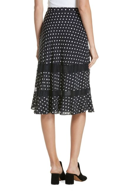 Lewit Polka Dot A Line Silk Lace Skirt Navy Image 2