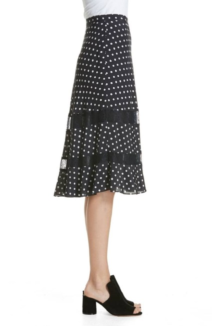 Lewit Polka Dot A Line Silk Lace Skirt Navy Image 3