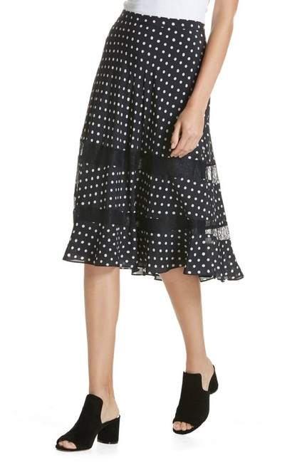 Lewit Polka Dot A Line Silk Lace Skirt Navy Image 4