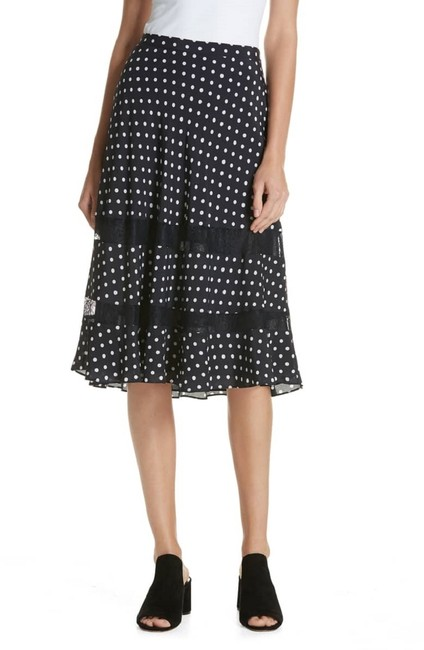 Lewit Polka Dot A Line Silk Lace Skirt Navy Image 7